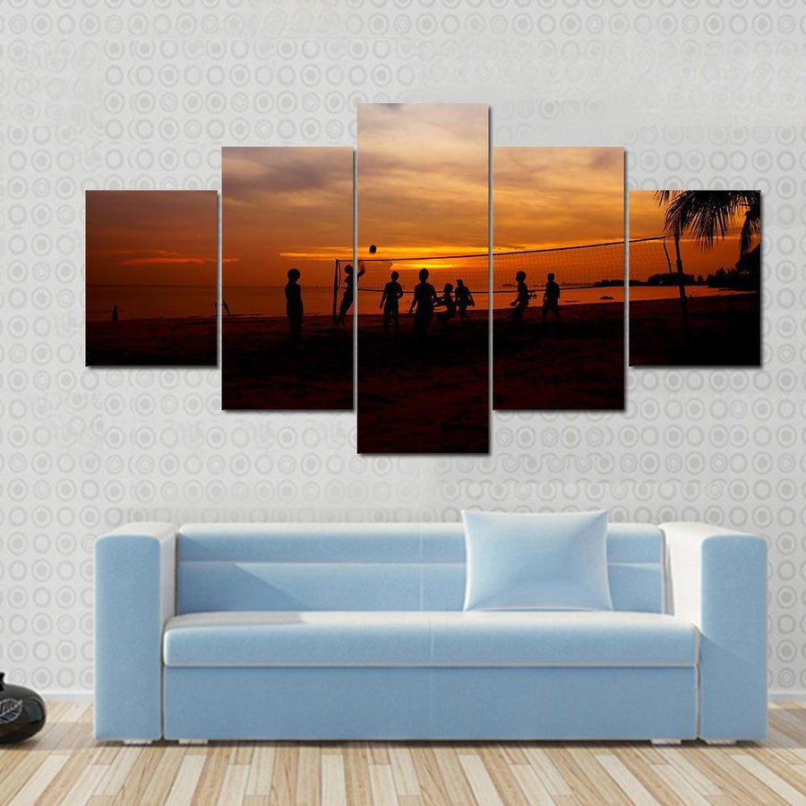 Volleyball Game Player At Silhouette Canvas Panel Painting Tiaracle