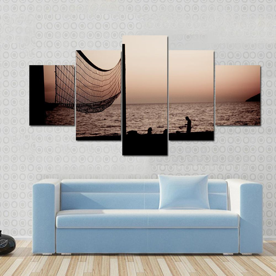 Volleyball Net On Croatian Beach With Sea View Canvas Panel Painting Tiaracle