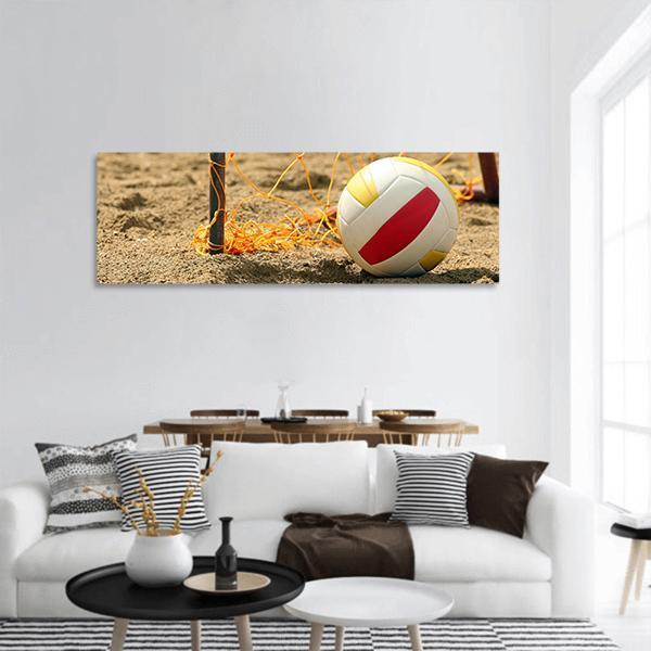 Volleyball On Beach Panoramic Canvas Wall Art Tiaracle