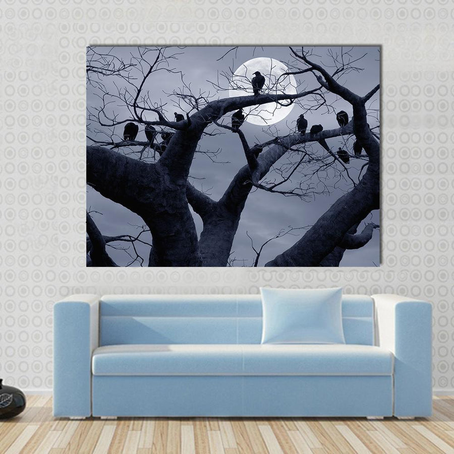 Vultures In A Scary And Spooky Halloween Scene Multi Panel Canvas Wall Art 4 Horizontal / Small / Gallery Wrap Tiaracle