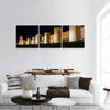 Walls Of Avila In Spain At Night Panoramic Canvas Wall Art 3 Piece / Small Tiaracle