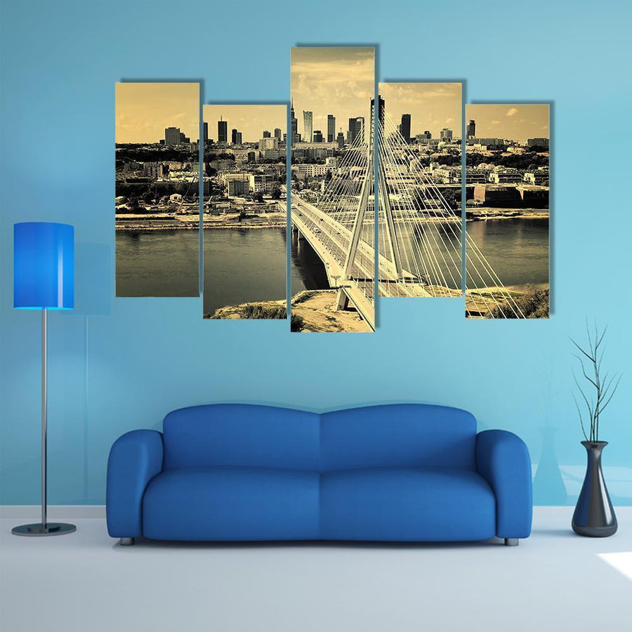 Aerial Bird View Of Warsaw Multi Panel Canvas Wall Art 1 Piece / Medium / Canvas Tiaracle