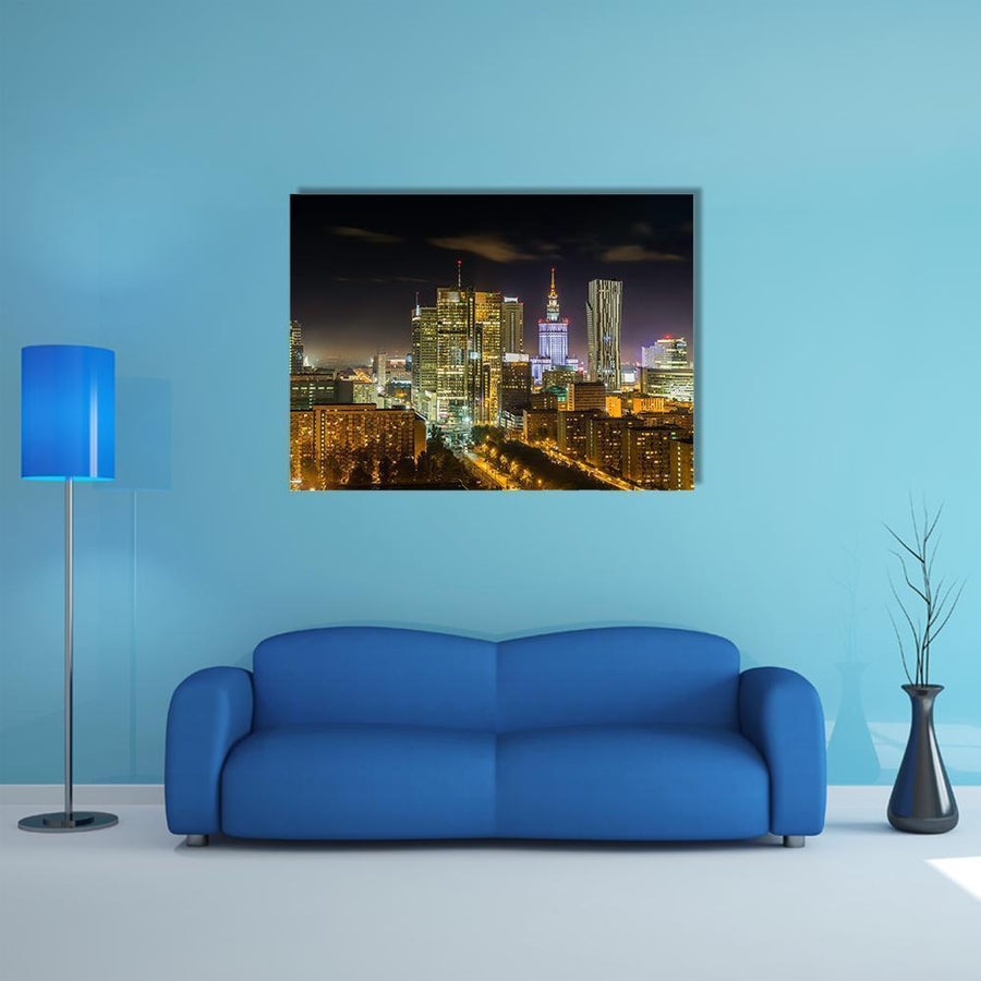 Warsaw Downtown At Night Multi Panel Canvas Wall Art-4 Horizontal-Small-Gallery Wrap-Tiaracle