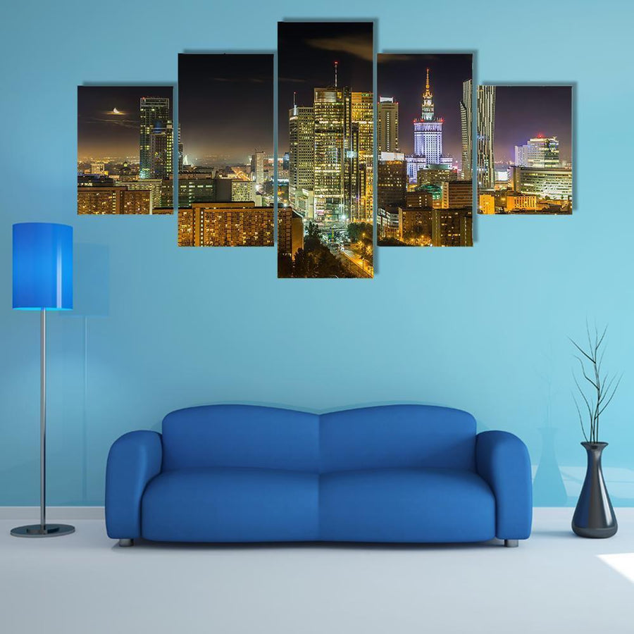 Warsaw Downtown At Night Multi Panel Canvas Wall Art 1 Piece / Medium / Canvas Tiaracle