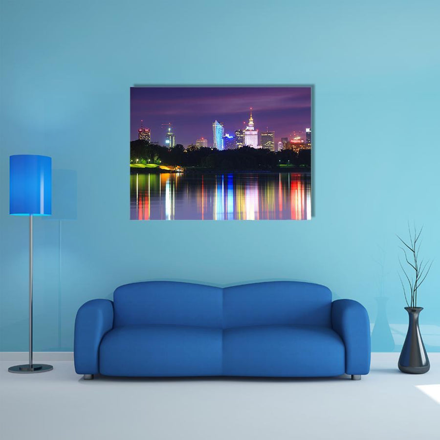 Warsaw Night View Of The City From The River Canvas Wall Art-4 Horizontal-Small-Gallery Wrap-Tiaracle