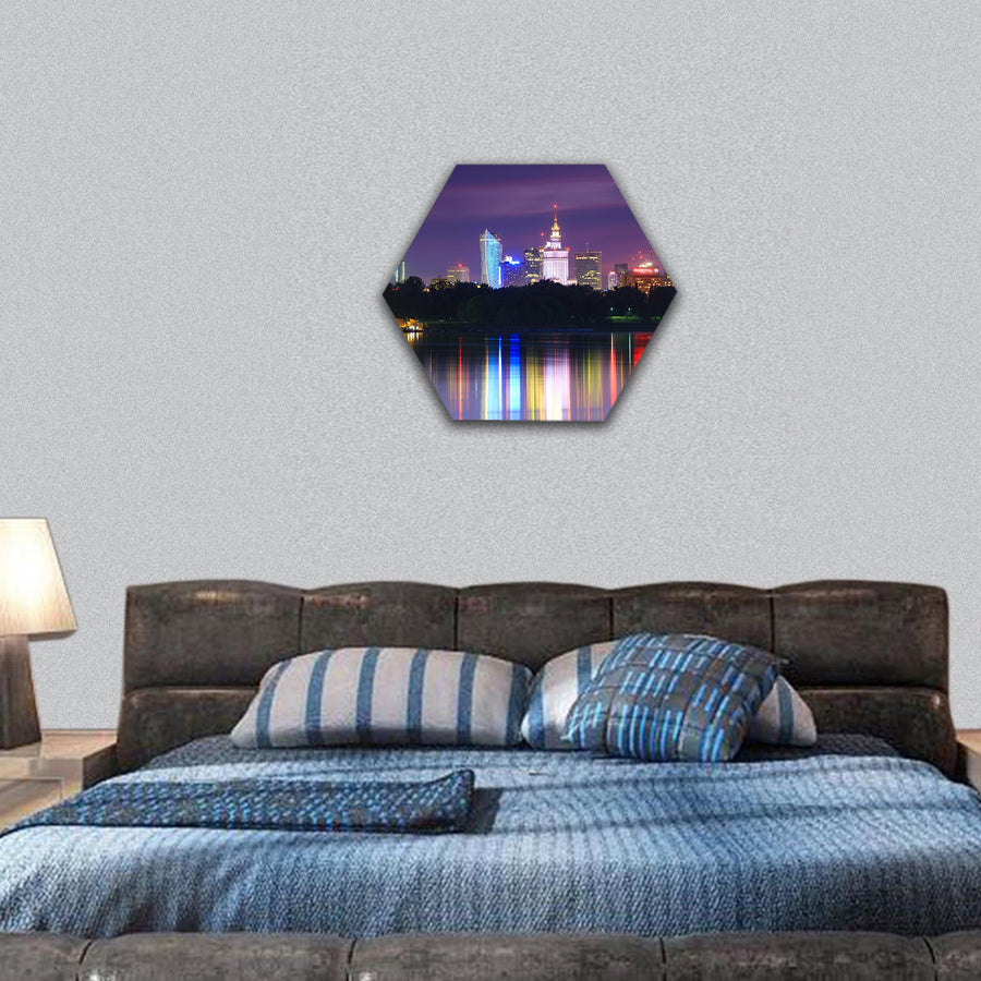 Warsaw Night View Of The City From The River Hexagonal Canvas Wall Art-7 Hexa-Small-Gallery Wrap-Tiaracle