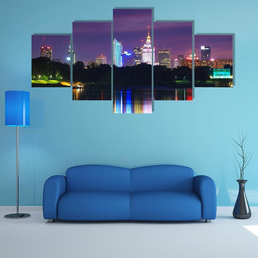 Warsaw Night View Of The City From The River Multi Panel Canvas Wall Art 3 Pieces / Medium / Canvas Tiaracle