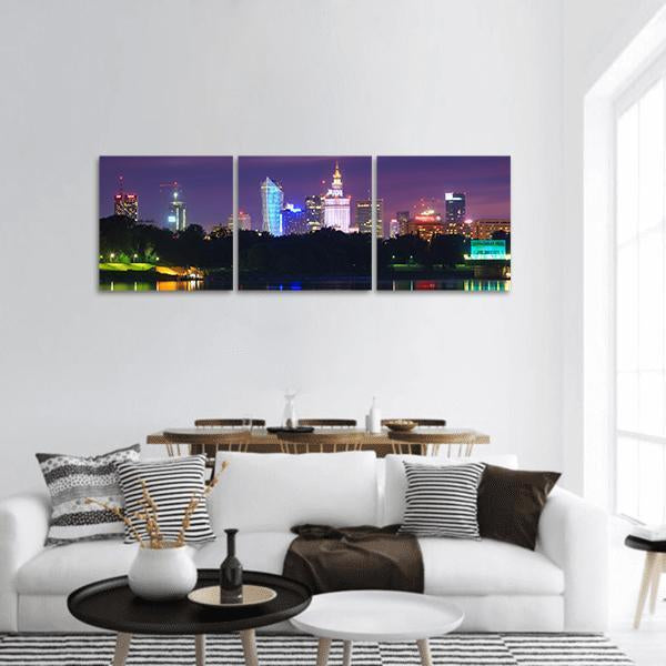 Warsaw Night View Panoramic Canvas Wall Art 1 Piece / Small Tiaracle