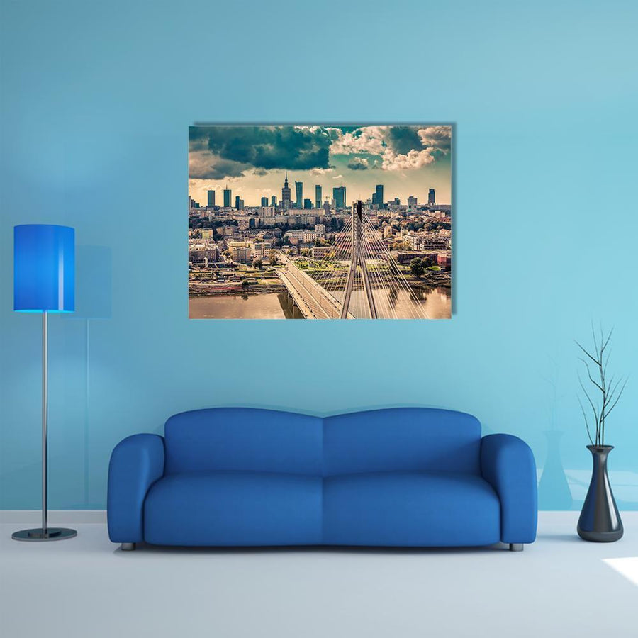 Warsaw Skyline Behind The Bridge Multi Panel Canvas Wall Art-5 Horizontal-Small-Gallery Wrap-Tiaracle