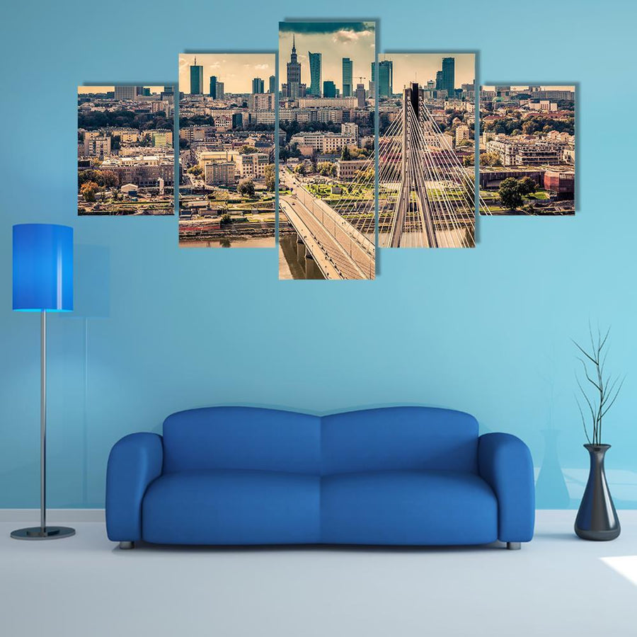 Warsaw Skyline Behind The Bridge Multi Panel Canvas Wall Art 3 Pieces / Medium / Canvas Tiaracle