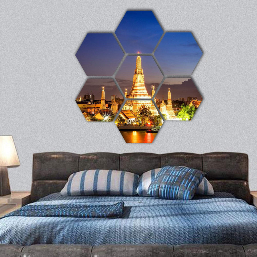 Wat Arun Temple In Bangkok Hexagonal Canvas Wall Art 1 Hexa / Small / Gallery Wrap Tiaracle