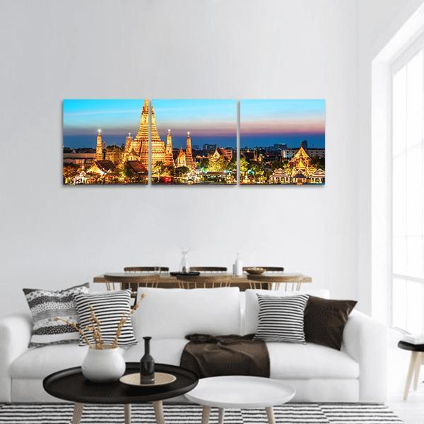 Wat Arun Temple In Bangkok Panoramic Canvas Wall Art Tiaracle