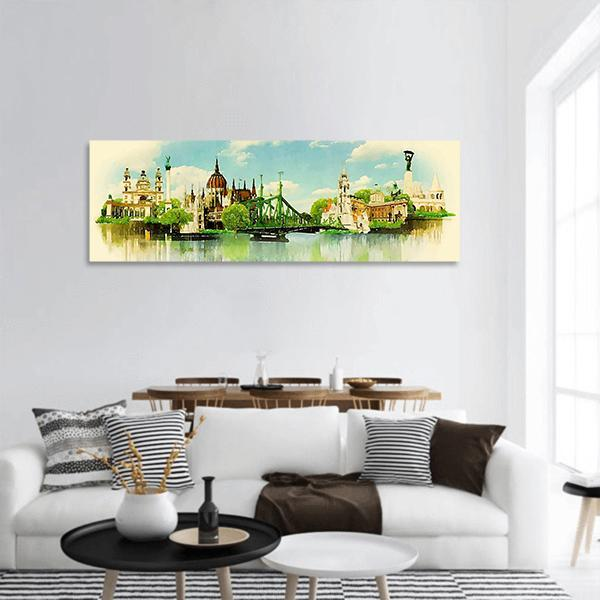Watercolor Illustration of Budapest Panoramic Canvas Wall Art Tiaracle