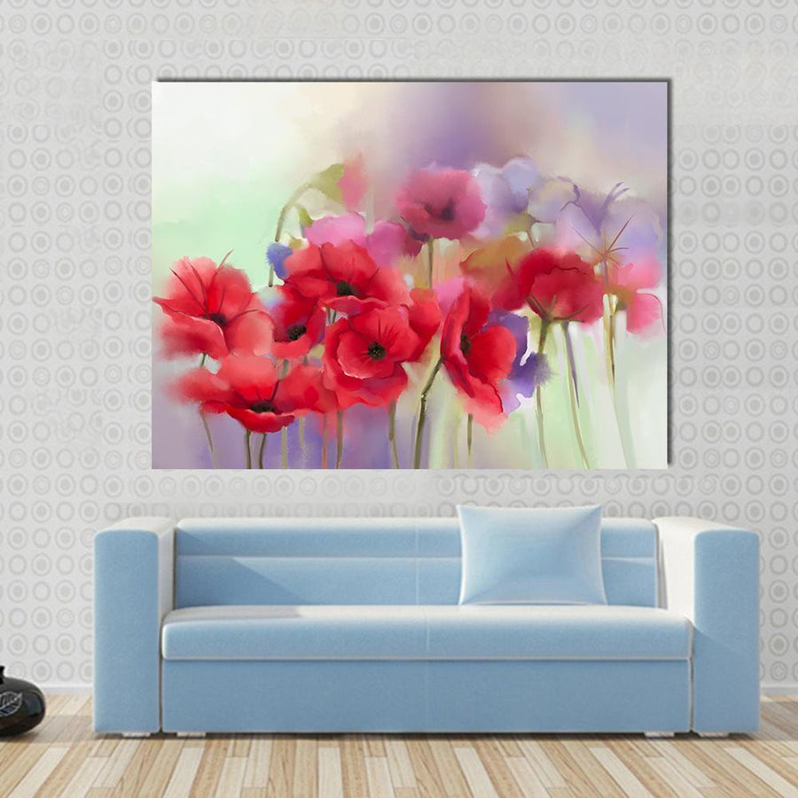 Watercolor Red Poppy Flowers Painting Abstract Canvas Panel Painting Tiaracle