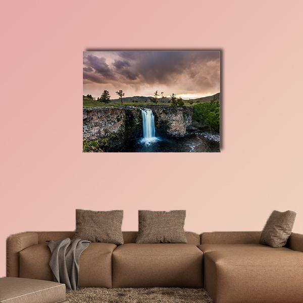 Waterfall And Beautiful Sky In Mongolia Multi Panel Canvas Wall Art 5 Pieces(B) / Medium / Canvas Tiaracle