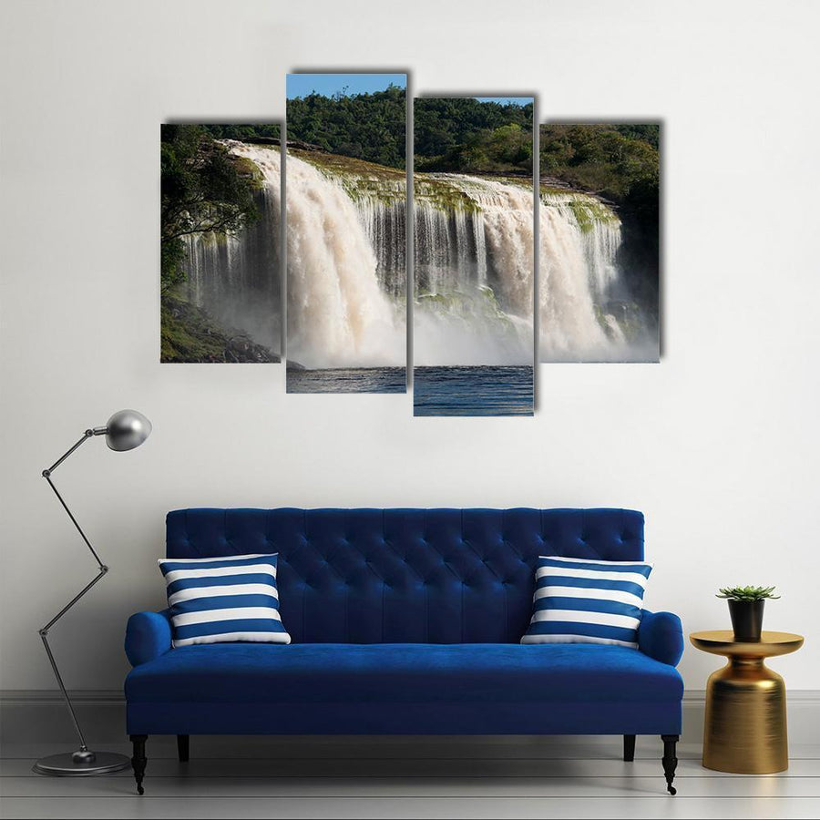 Waterfall At Canaima In Venezuela Multi Panel Canvas Wall Art 1 Piece / Medium / Canvas Tiaracle