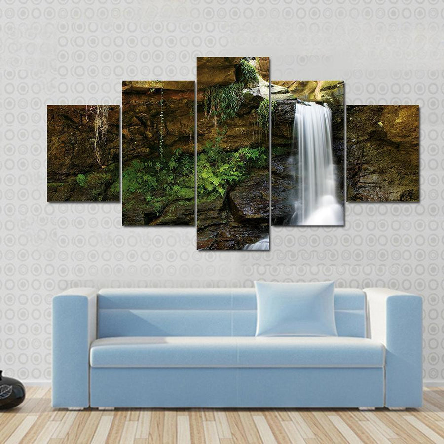 Waterfall At Rocky Place Canvas Panel Painting Tiaracle