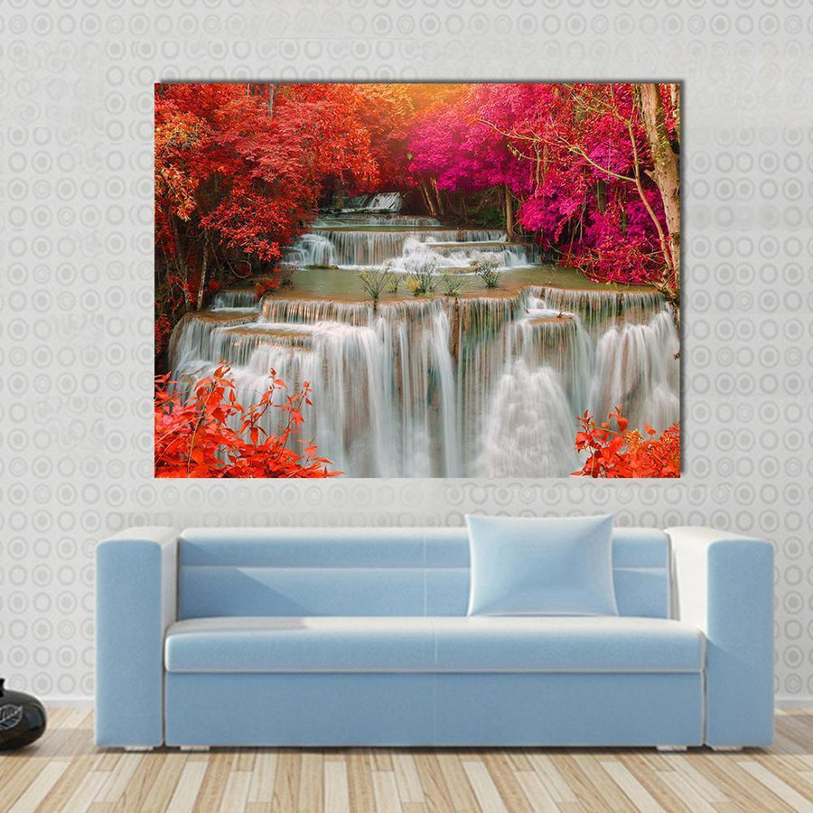 Waterfall Coming From Pink And Red Trees Canvas Panel Painting Tiaracle
