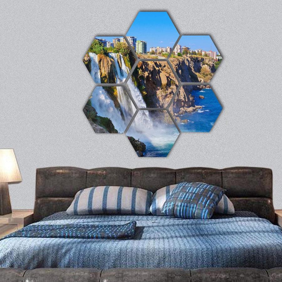 Waterfall Duden At Antalya Turkey Hexagonal Canvas Wall Art 1 Hexa / Small / Gallery Wrap Tiaracle