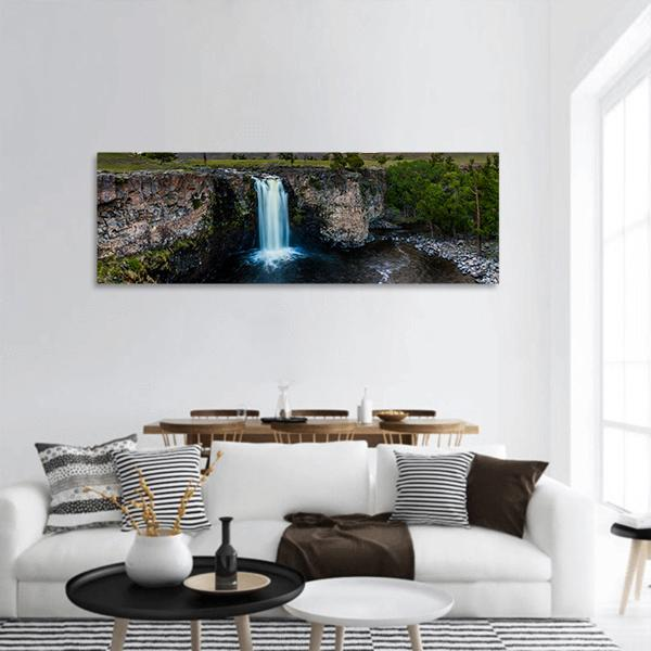 Waterfall In Mongolia Panoramic Canvas Wall Art 3 Piece / Small Tiaracle