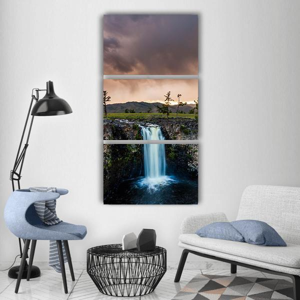 Waterfall In Mongolia Vertical Canvas Wall Art 1 Vertical / Small / Gallery Wrap Tiaracle