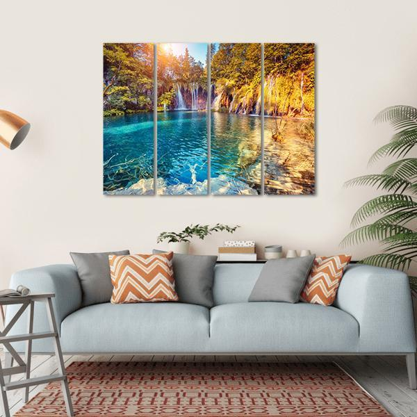 Waterfall In The Plitvice Lakes National Park, Croatia Multi Panel Canvas Wall Art 1 Piece / Small / Gallery Wrap Tiaracle