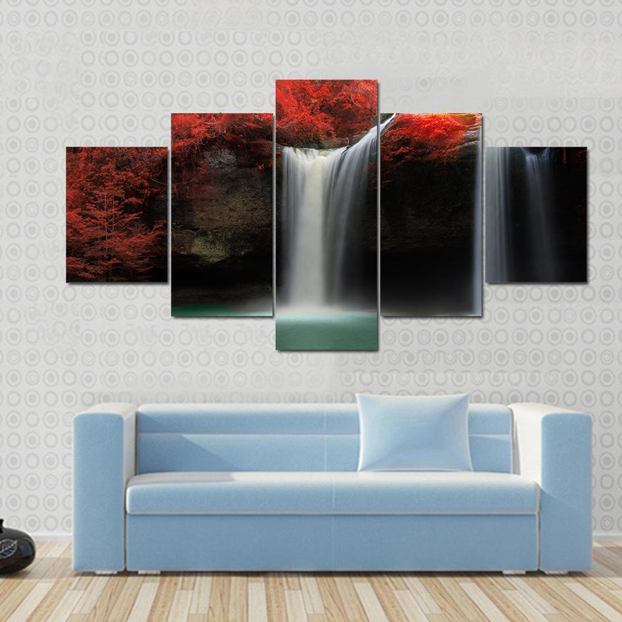 Waterfall With Red Trees Multi Panel Canvas Wall Art 3 Pieces / Small / Gallery Wrap Tiaracle