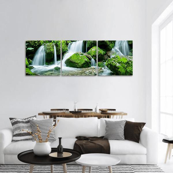 Waterfall With Several Cascades In Slovenia Panoramic Canvas Wall Art 1 Piece / Small Tiaracle