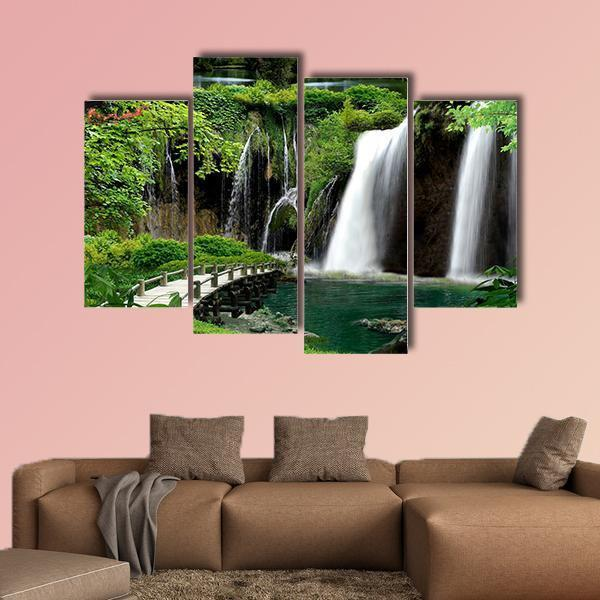 Cave With Waterfalls And Streams Multi Panel Canvas Wall Art 1 Piece / Medium / Canvas Tiaracle