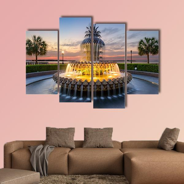 Waterfront Park Pineapple Fountain In Charleston Multi Panel Canvas Wall Art 3 Pieces / Small / Canvas Tiaracle