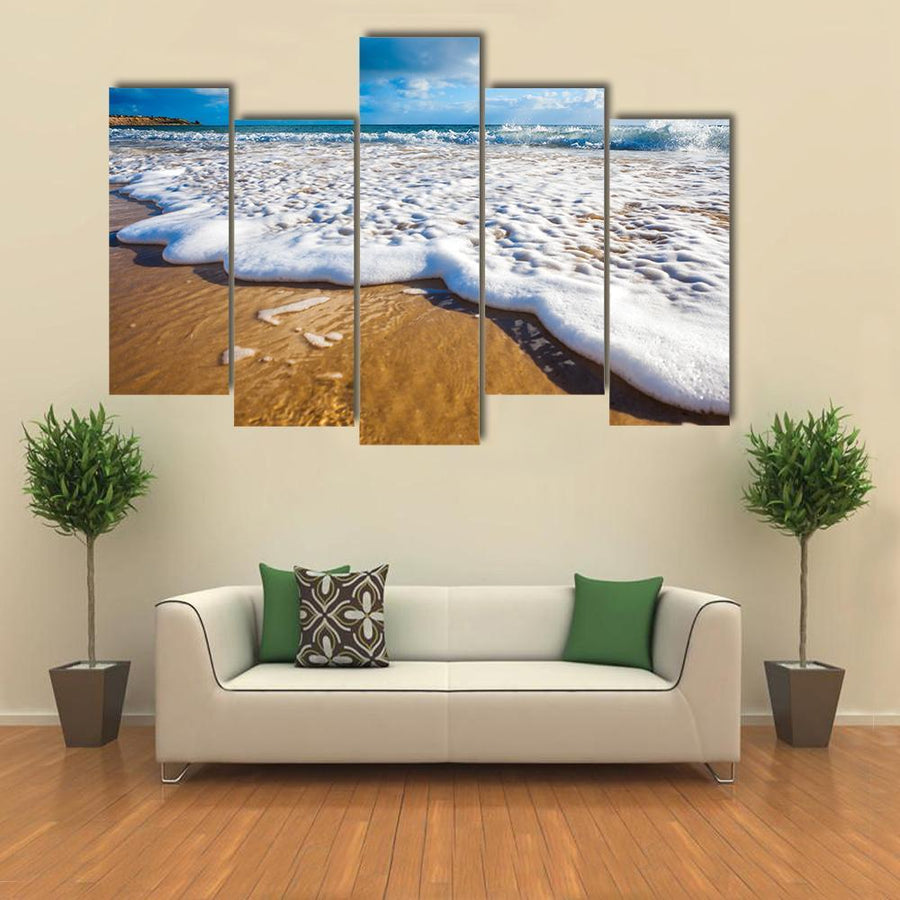 Waves Wash Over Golden Sand On Australian Beach Multi Panel Canvas Wall Art 3 Pieces / Medium / Canvas Tiaracle