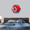 Waving Flag Of North Korea Hexagonal Canvas Wall Art 1 Hexa / Small / Gallery Wrap Tiaracle