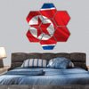 Waving Flag Of North Korea Hexagonal Canvas Wall Art 7 Hexa / Small / Gallery Wrap Tiaracle