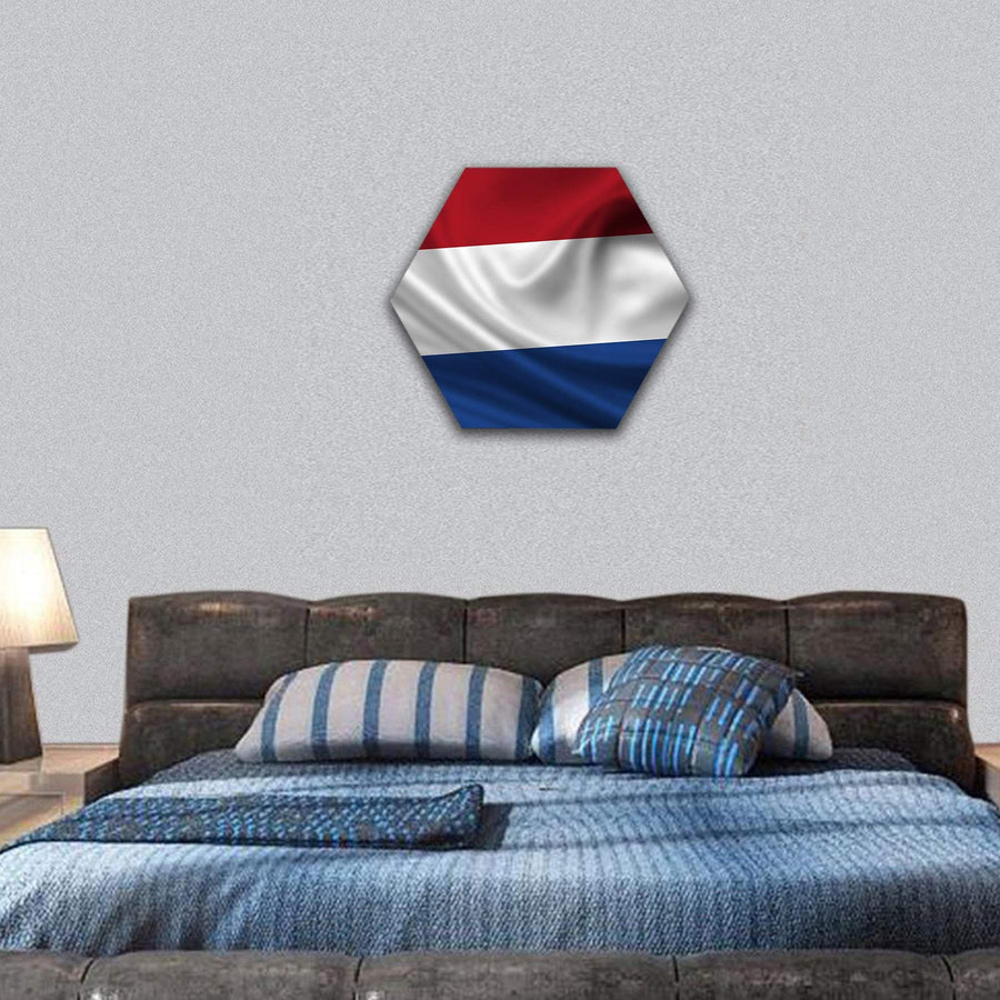 Waving Flag Of The Netherlands Hexagonal Canvas Wall Art 7 Hexa / Small / Gallery Wrap Tiaracle