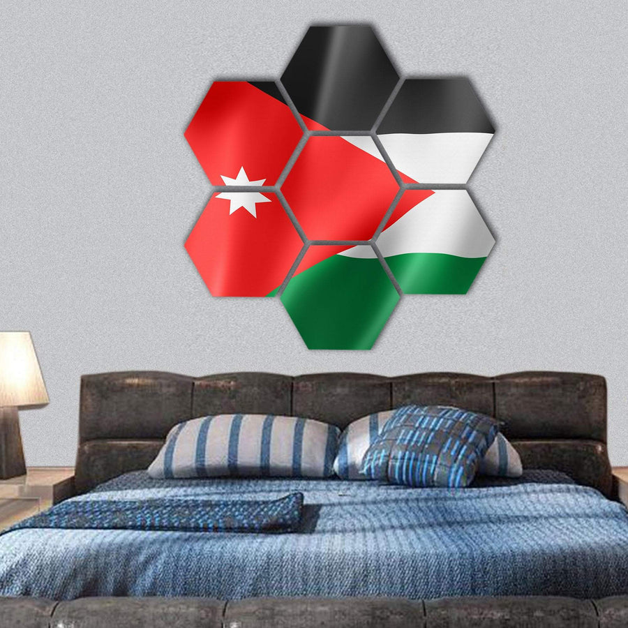 Waving Jordan Flag Hexagonal Canvas Wall Art 1 Hexa / Small / Gallery Wrap Tiaracle