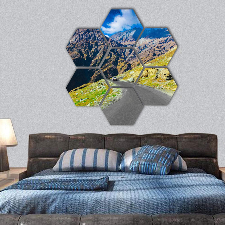 Way To Himalaya From The Road Hexagonal Canvas Wall Art 1 Hexa / Small / Gallery Wrap Tiaracle