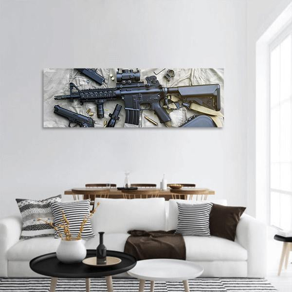 Weapons And Military Equipment For Army Panoramic Canvas Wall Art 3 Piece / Small Tiaracle