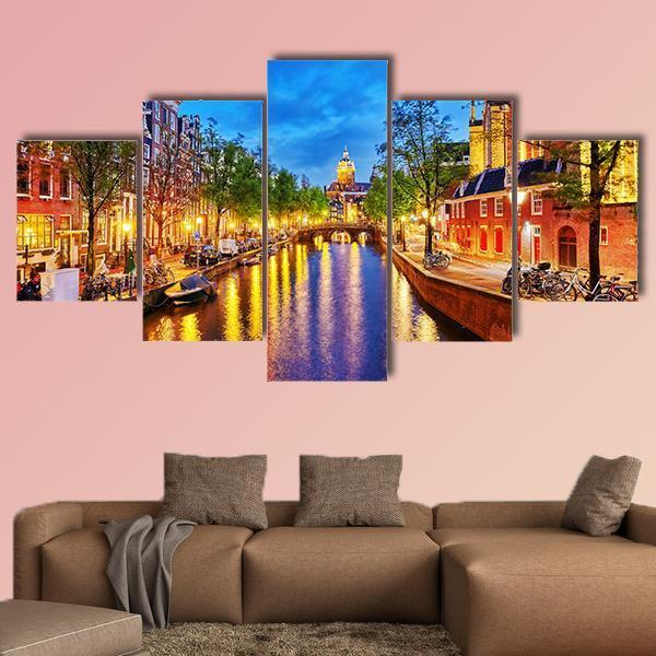 Westerkerk With Water Canal View In Amsterdam Multi Panel Canvas Wall Art 5 Pieces(B) / Medium / Canvas Tiaracle100587571_xl