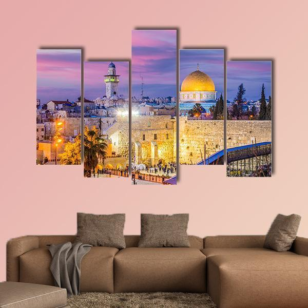 Skyline Of The Old City At The Western Wall And Temple Mount In Jerusalem Multi Panel Canvas Wall Art 4 Pieces / Medium / Canvas Tiaracle