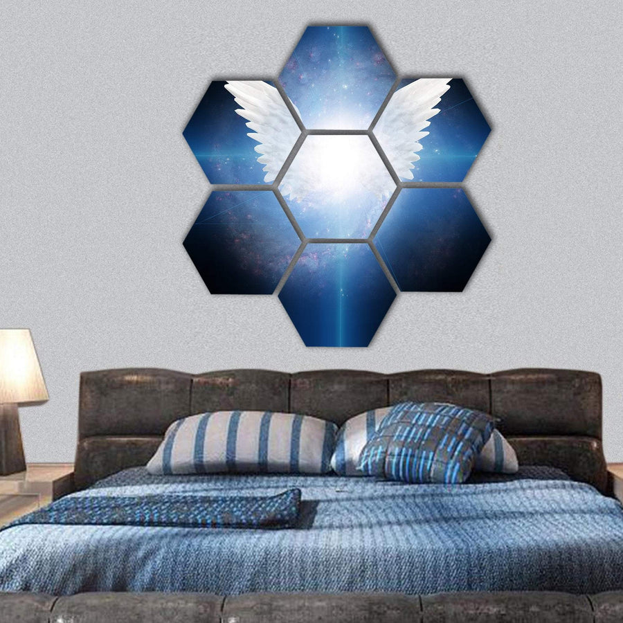 White Angel Flying Hexagonal Canvas Wall Art 1 Hexa / Small / Gallery Wrap Tiaracle