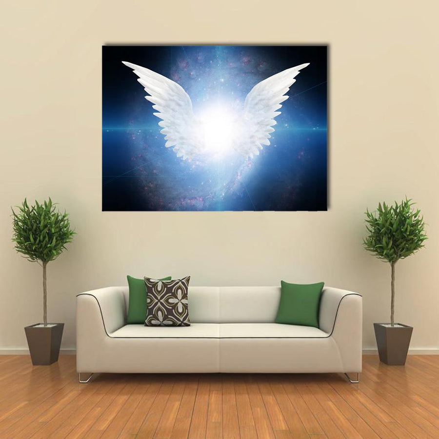 White Angel Flying Multi Panel Canvas Wall Art-4 Horizontal-Small-Gallery Wrap-Tiaracle