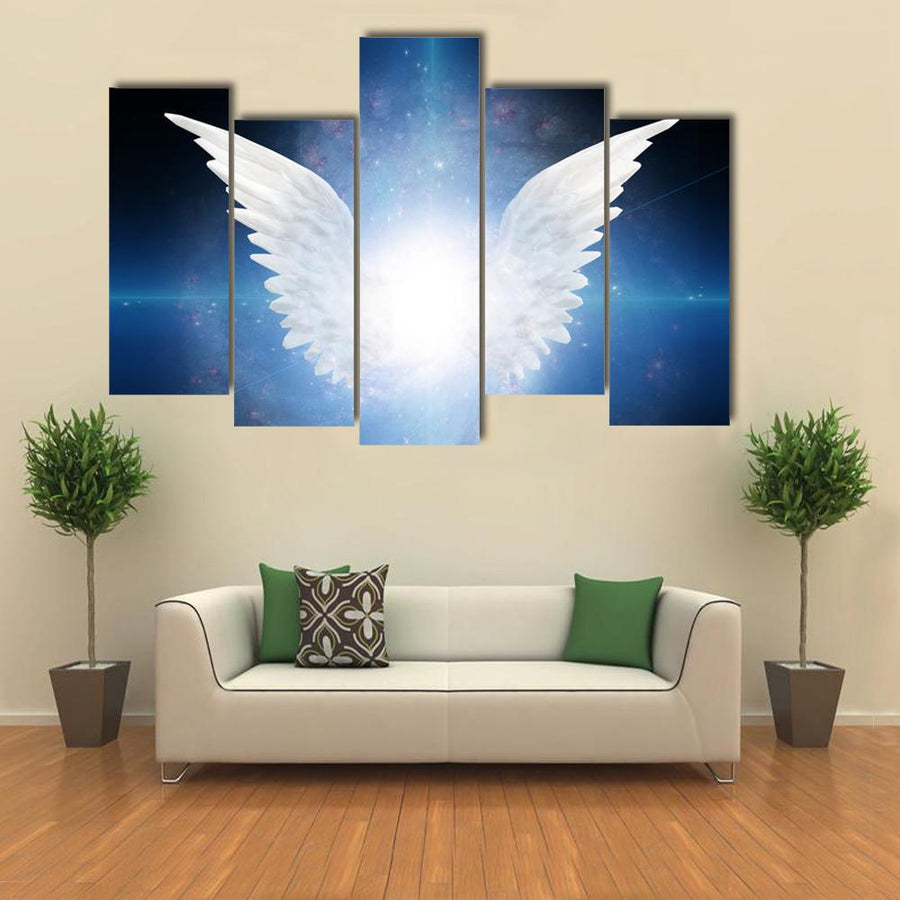 White Angel Flying Multi Panel Canvas Wall Art-1 Piece-Xsmall-Gallery Wrap-Tiaracle