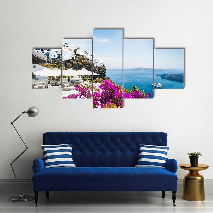 White Architecture On Santorini Island Multi Panel Canvas Wall Art 3 Pieces / Medium / Canvas Tiaracle