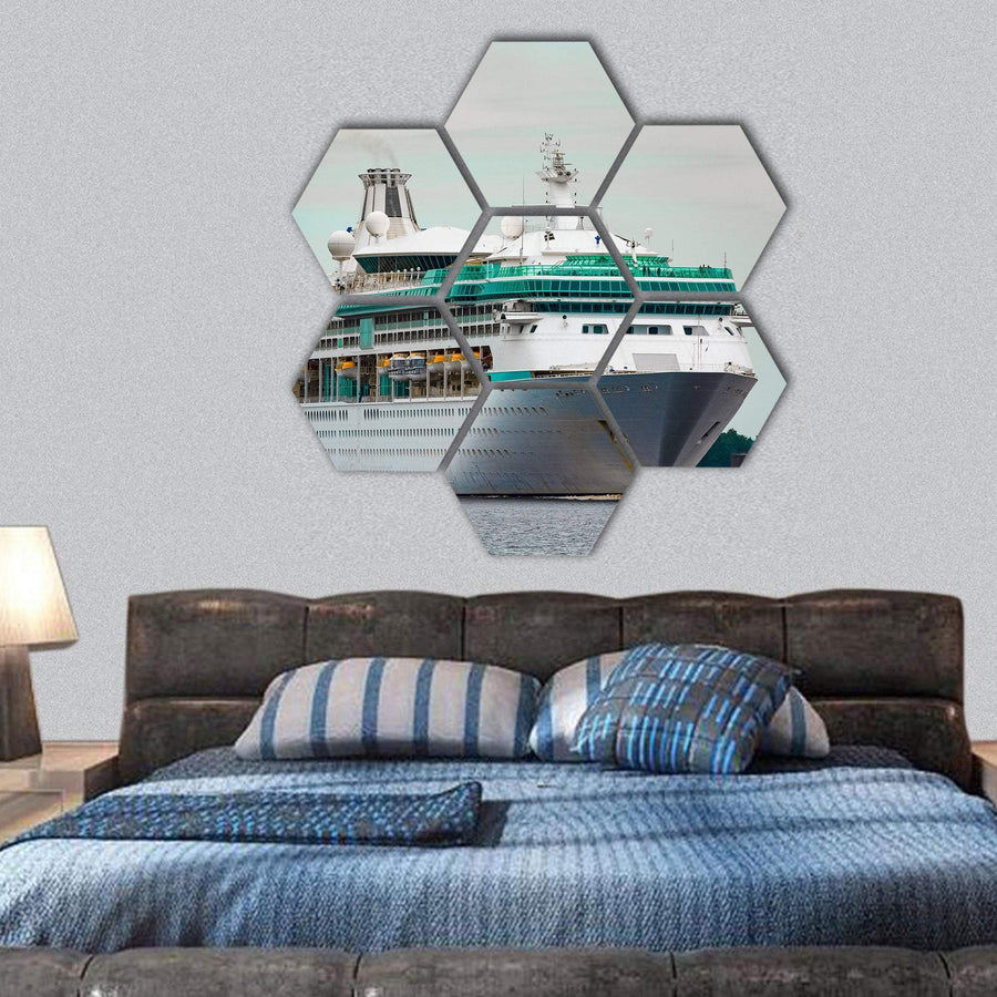 White Cruise Liner In Riga City Hexagonal Canvas Wall Art 1 Hexa / Small / Gallery Wrap Tiaracle