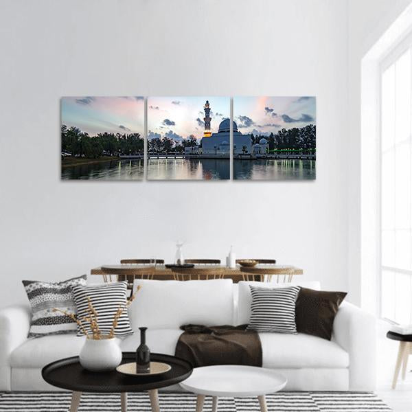 White Mosque In Malaysia Panoramic Canvas Wall Art 1 Piece / Small Tiaracle