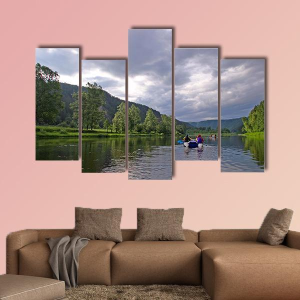 White River Rafting In Southern Urals Multi Panel Canvas Wall Art 4 Pieces / Medium / Canvas Tiaracle