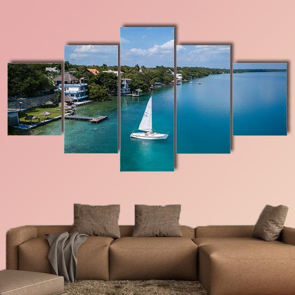 White Sailing Yacht In Mexico Multi Panel Canvas Wall Art 3 Pieces / Medium / Canvas Tiaracle