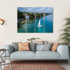 White Sailing Yacht In Mexico Multi Panel Canvas Wall Art 4 Horizontal / Small / Gallery Wrap Tiaracle