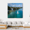 White Sailing Yacht In Mexico Multi Panel Canvas Wall Art 4 Square / Small / Gallery Wrap Tiaracle