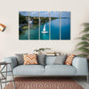 White Sailing Yacht In Mexico Multi Panel Canvas Wall Art 5 Horizontal / Small / Gallery Wrap Tiaracle